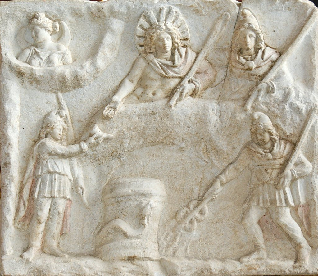 Detail of Roman relief of Mithras, Selene, Cautes and Cautopates by Corbis