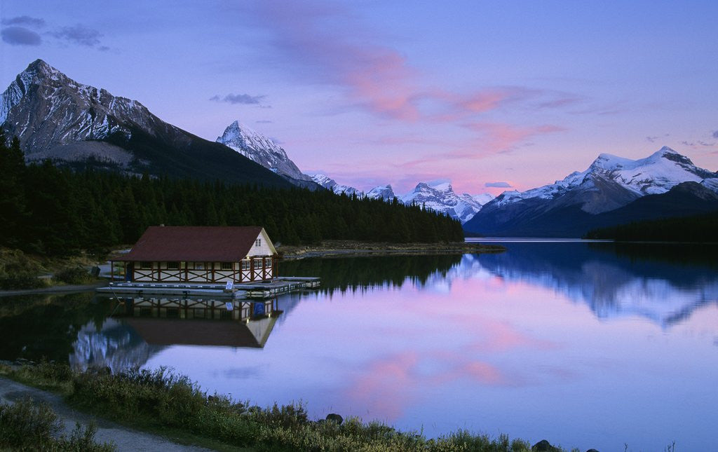 Detail of Maligne Lake at Dusk, Jasper National Park, Alberta, Canada by Corbis