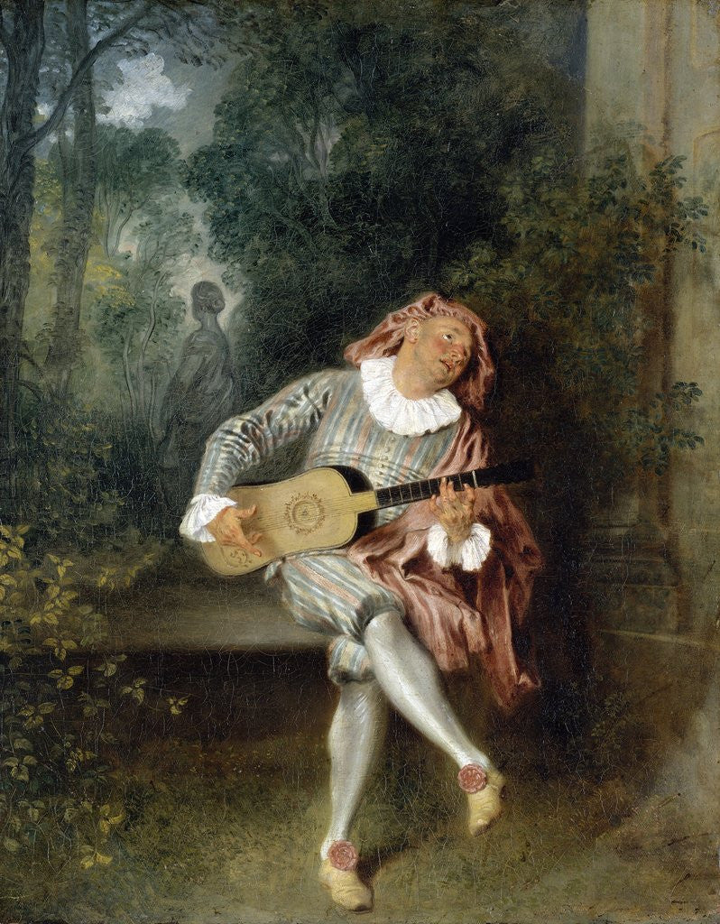 Detail of Mezzetin by Jean-Antoine Watteau