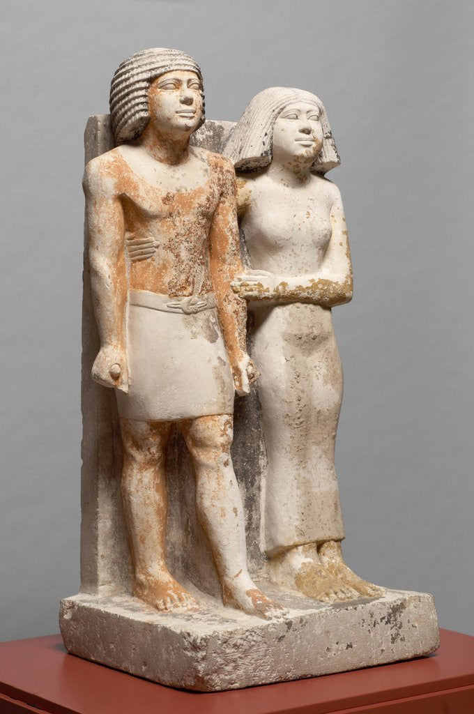 Detail of Egyptian Fifth Dynasty statue of Kapuptah and his wife by Corbis