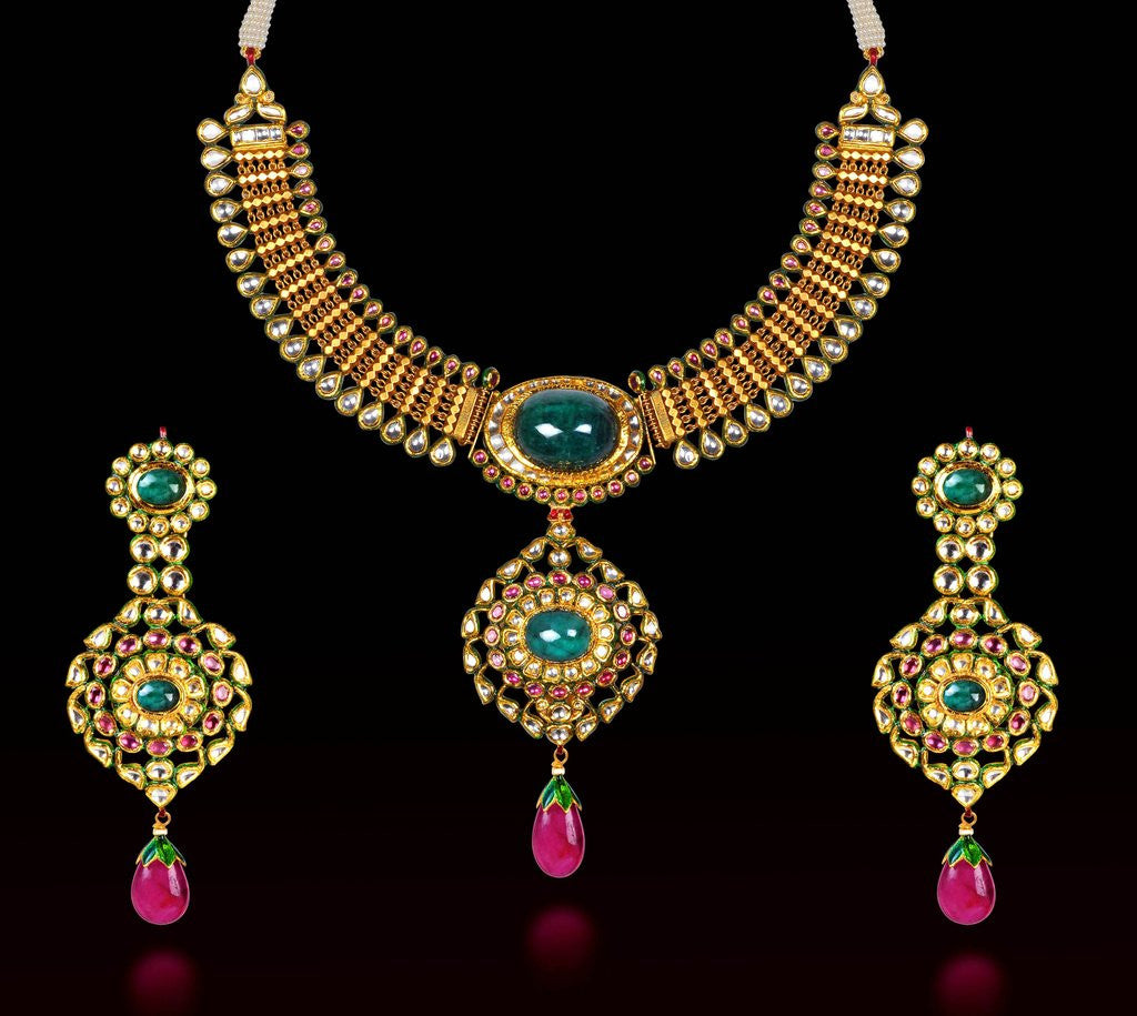 Detail of Indian necklace and earring set by Corbis
