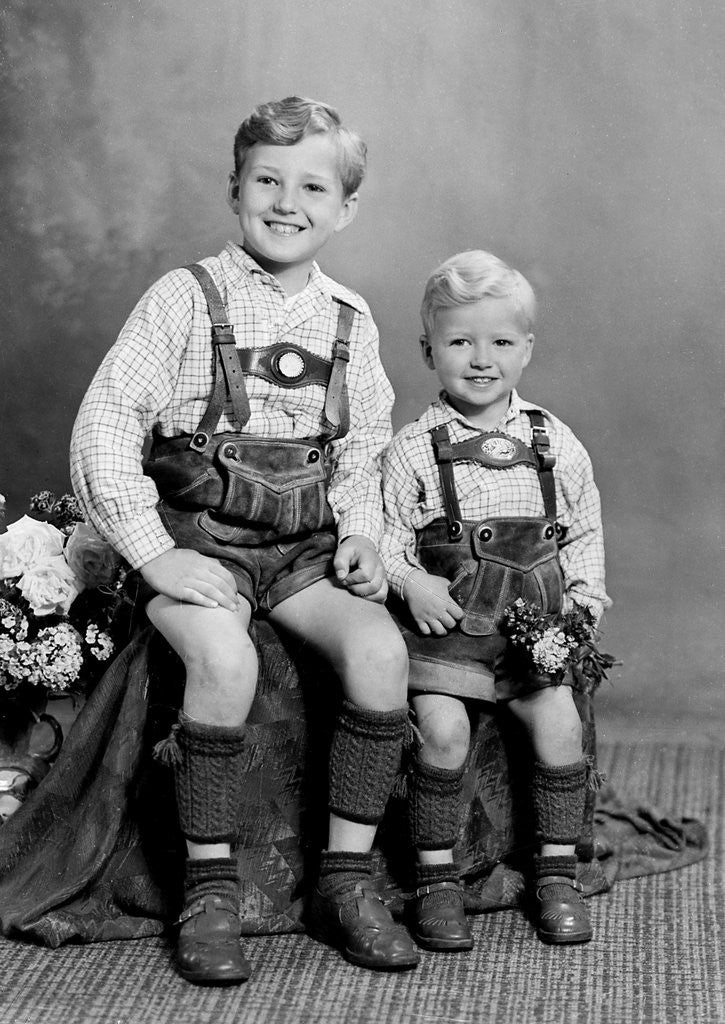 Detail of Two brothers pose for a childhood portrait in Germany, ca. 1949 by Corbis