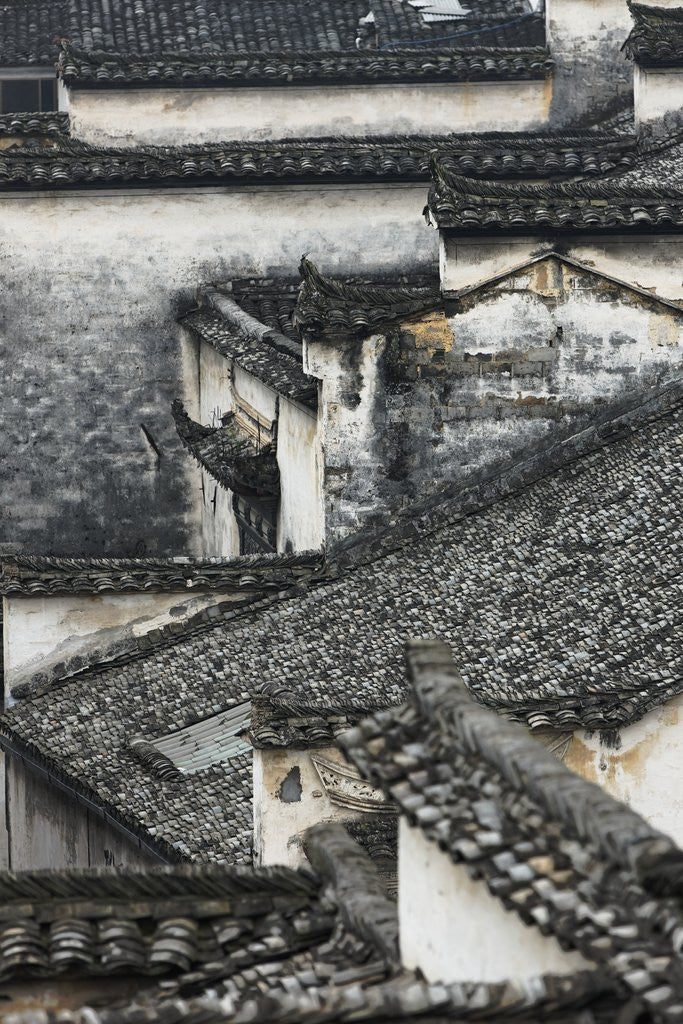 Detail of Tiled roof in Xidi, China by Corbis