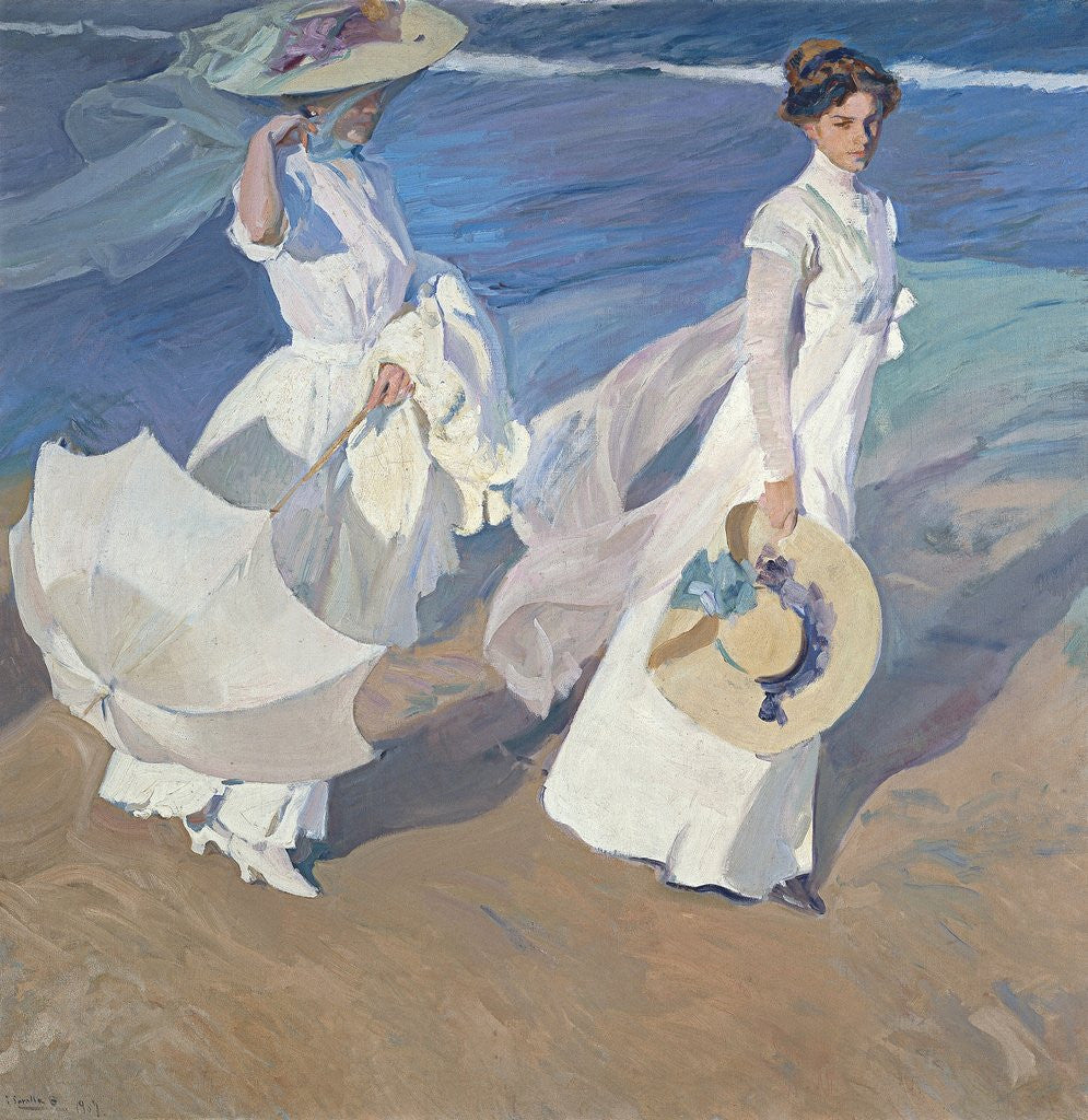 Detail of Seaside Stroll by Joaquin Sorolla y Bastida