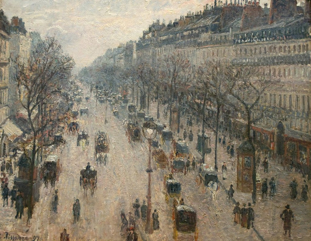 Detail of The Boulevard Montmartre on a Winter Morning by Camille Pissarro