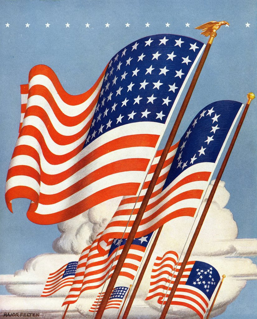 Detail of American flags by Corbis