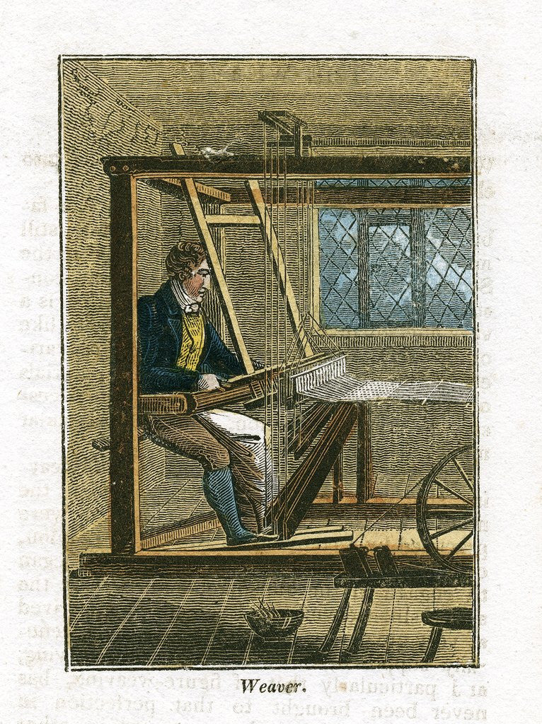 Detail of Weaver at his loom by Corbis