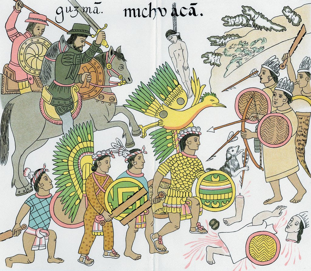 Detail of Battle between Nuno de Guzman and inhabitants of Michuacan by Corbis