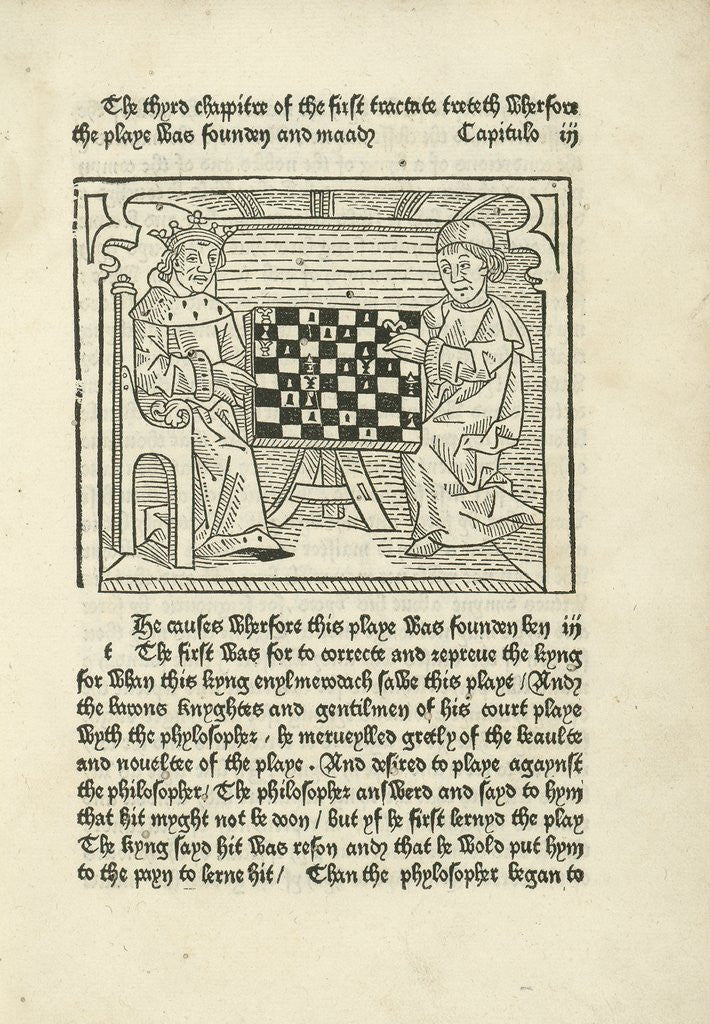 Detail of Woodcut print of a King and prelate playing chess by Corbis