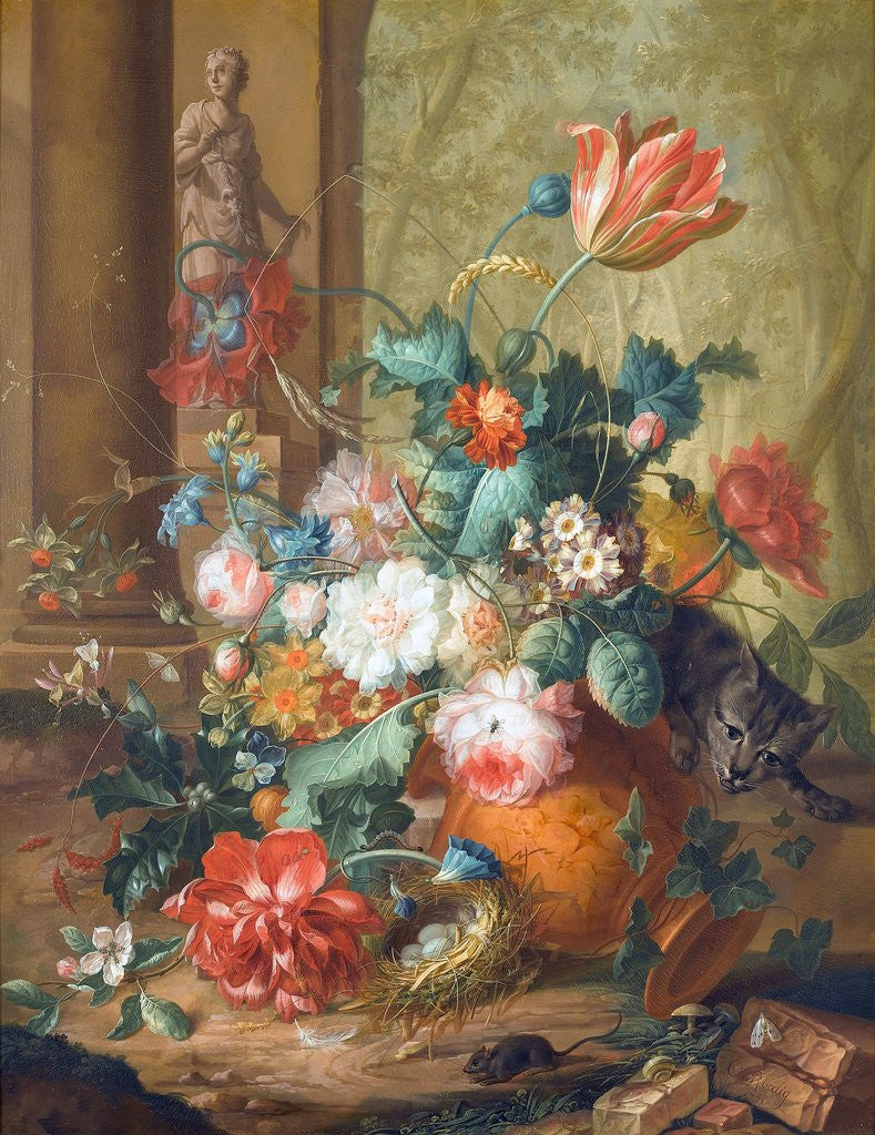 Detail of Tulips, roses and other flowers in a classical urn overturned by a cat chasing a mouse, with a statue of Flora beyond by Johannes Christianus Roedig