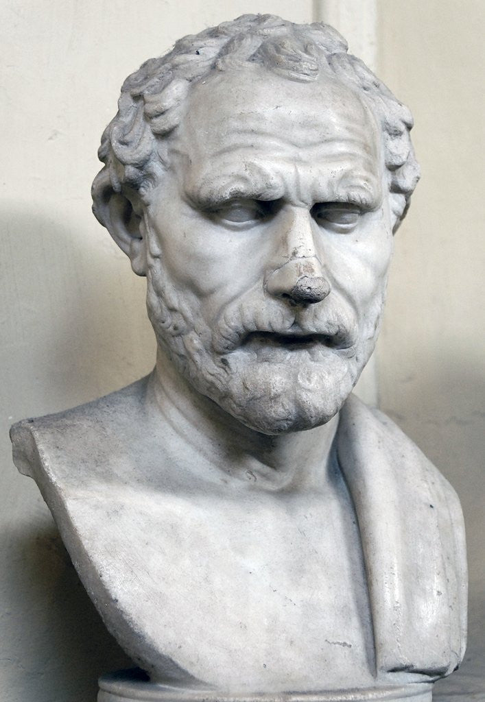 Detail of Bust sculpture of Demosthenes by Corbis