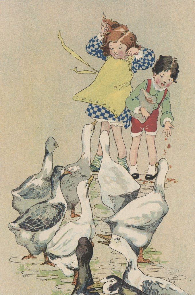 Detail of Illustration of children feeding geese by Corbis
