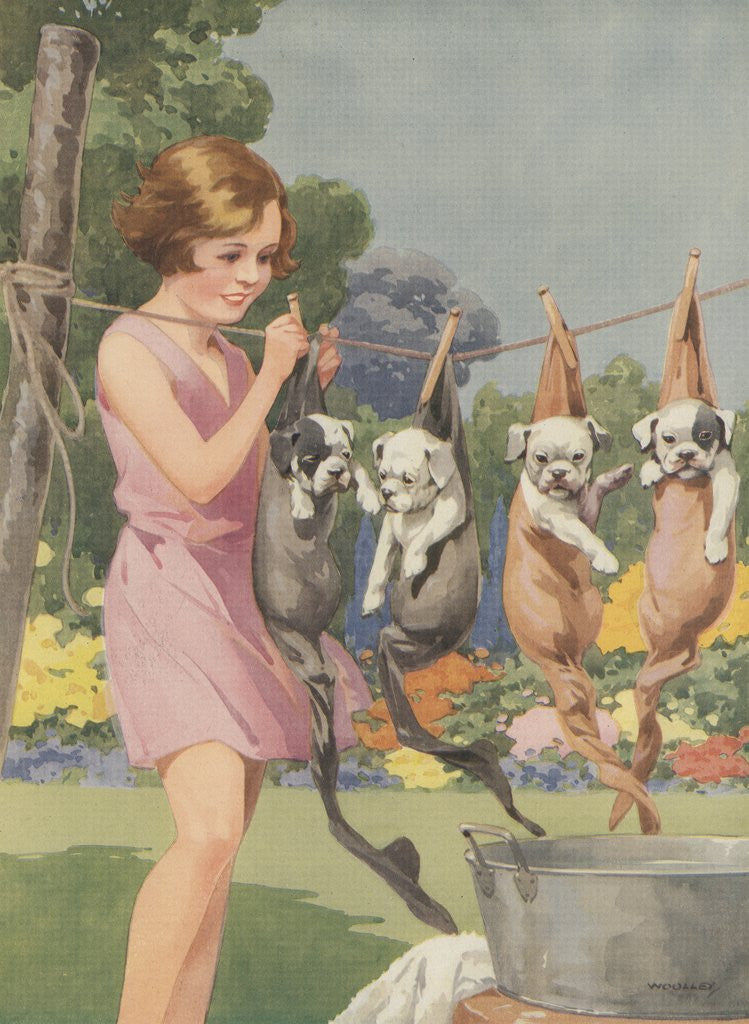 Illustration of girl hanging puppies in stockings