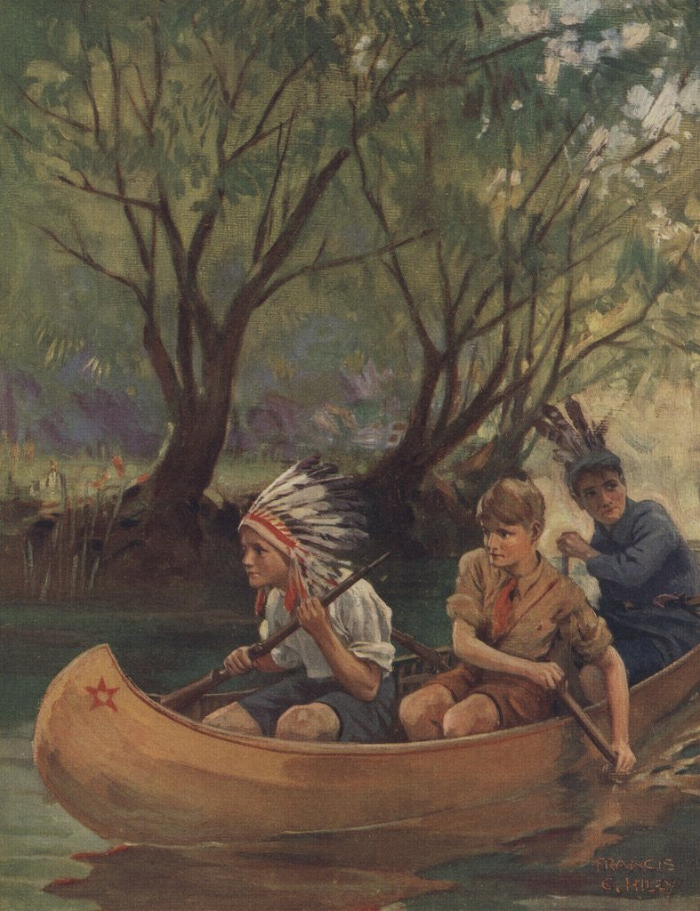 Detail of Illustration of three boys in canoe by Corbis