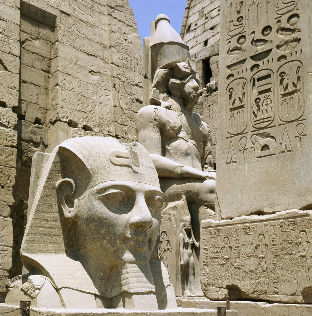 Monumental sculptures and relief carvings at luxor posters