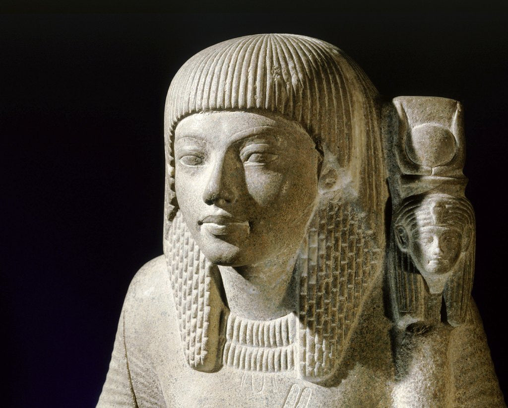 Detail of Ancient Egyptian green breccia statuette of a priest by Corbis