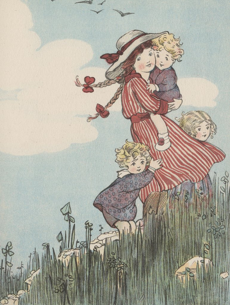 Detail of Children standing on hill by Corbis