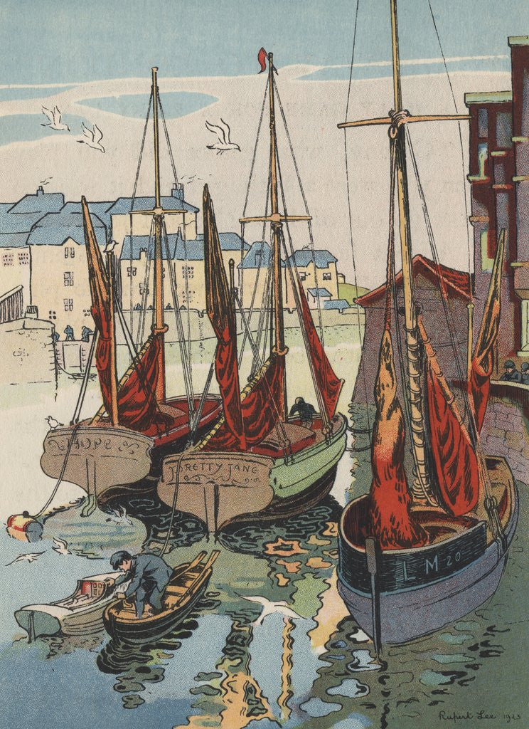 Detail of Boats in harbor by Corbis