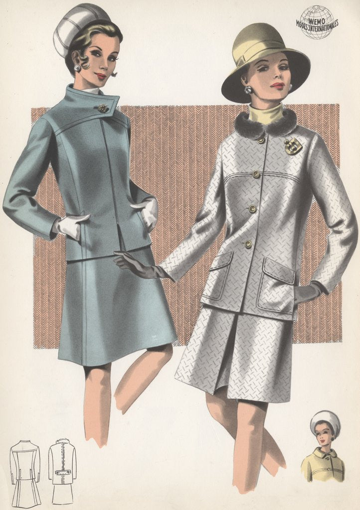 Detail of Models wearing suits and hats by Corbis