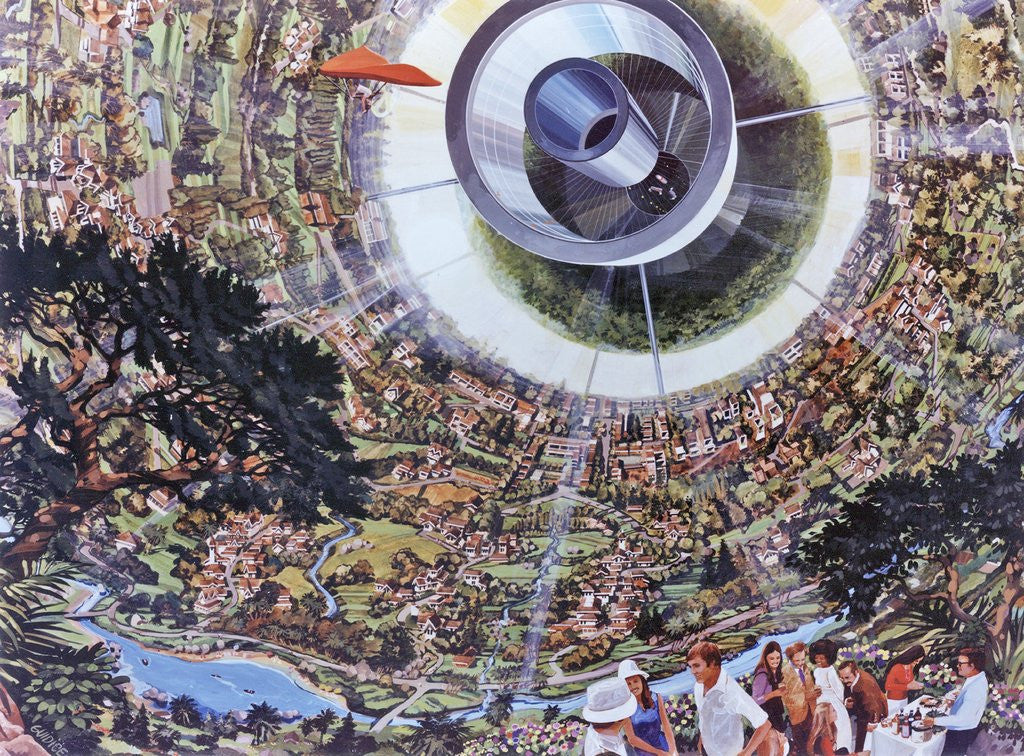 Interior view of a Bernal Sphere space colony for 10,000 people