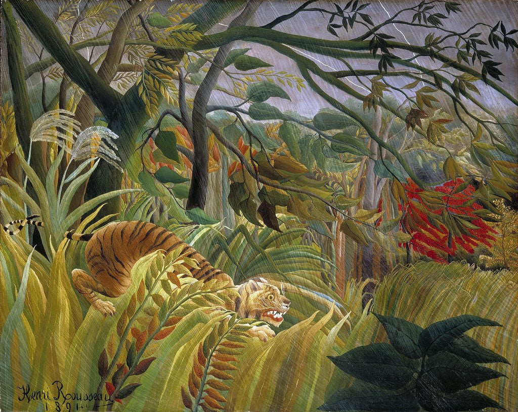 Detail of Tiger in a Tropical Storm (Surprised!) by Henri Rousseau