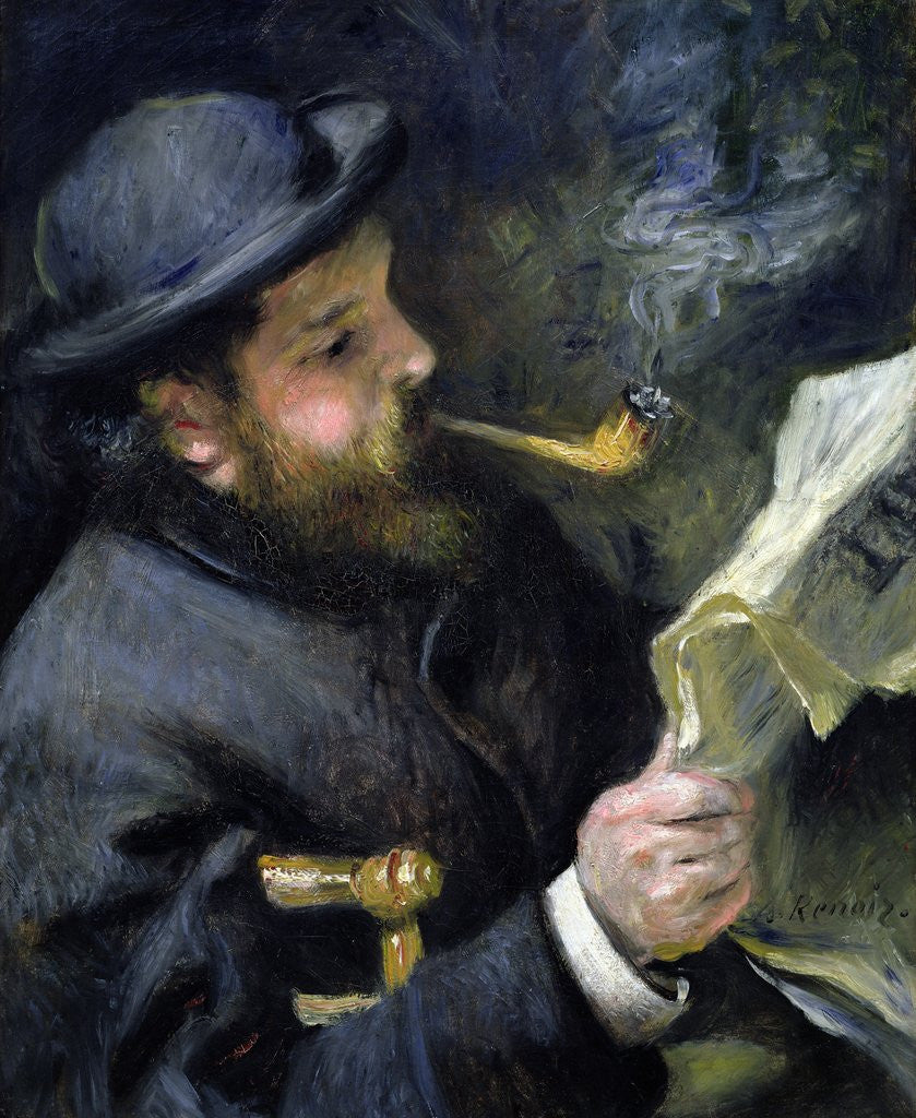 Detail of Claude Monet Reading a Newspaper by Pierre-Auguste Renoir