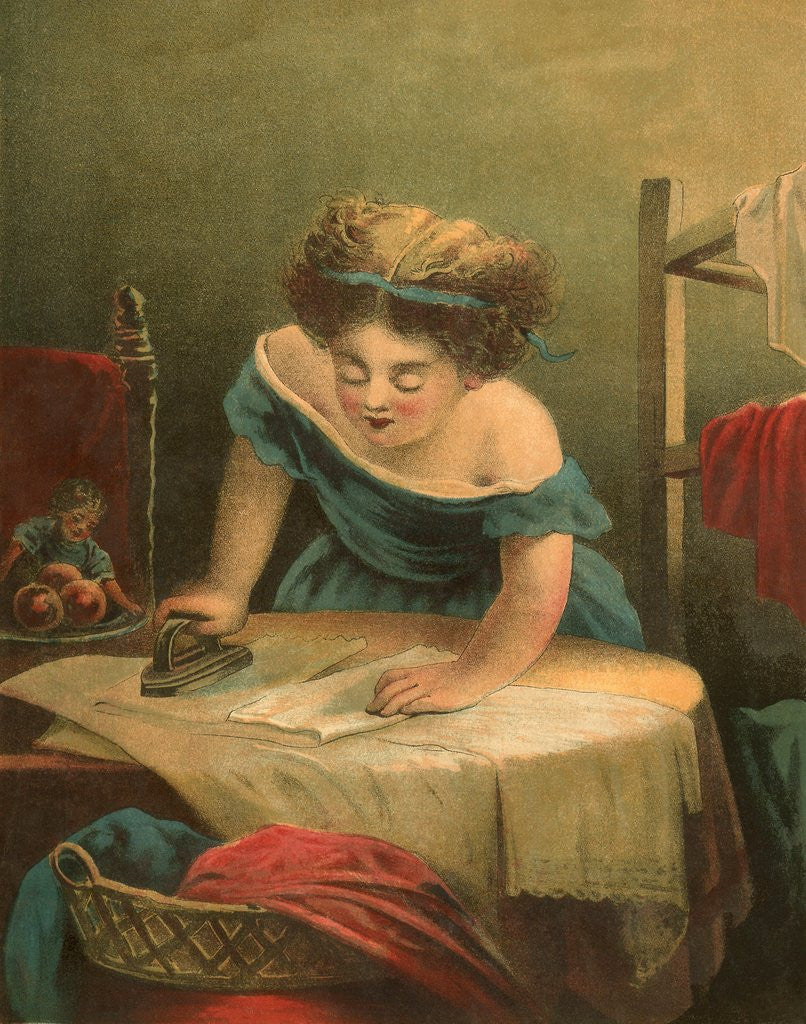 Detail of Victorian print of girl ironing by Corbis