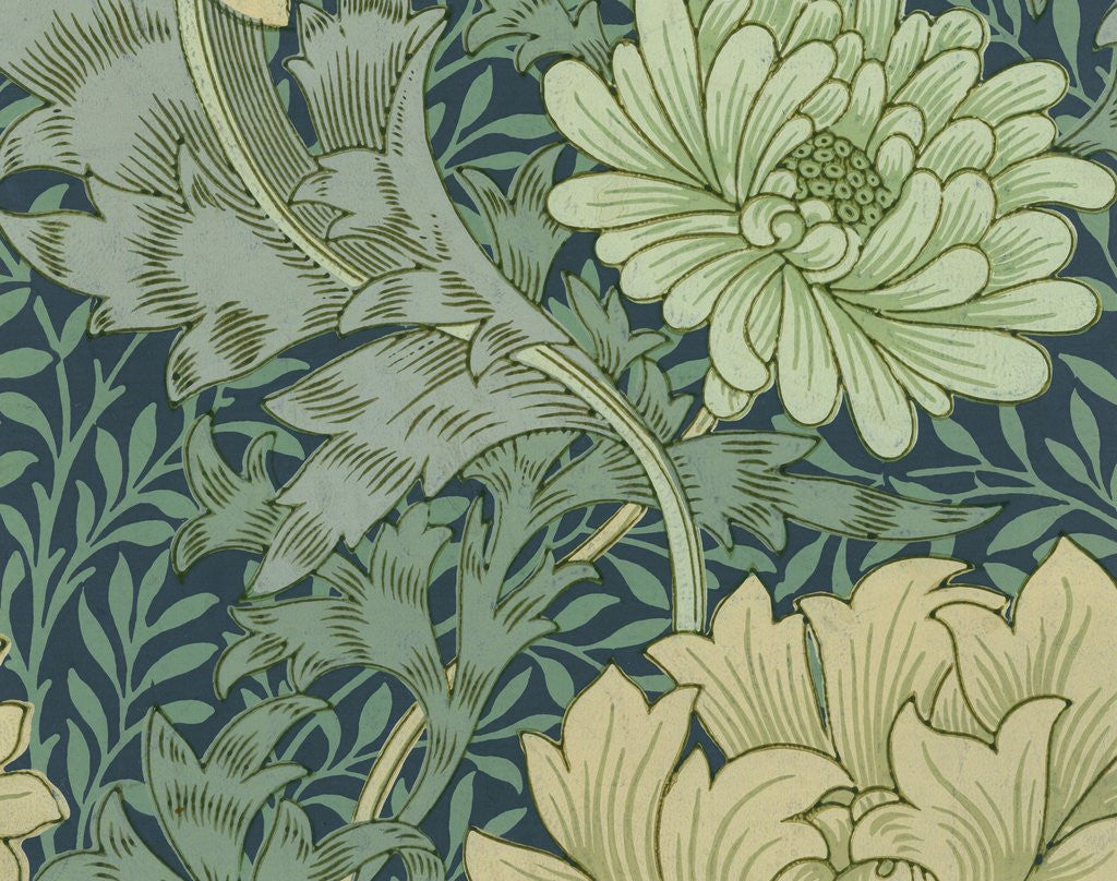 Detail Of William Morris Wallpaper Sample With Chrysanthemum By Corbis
