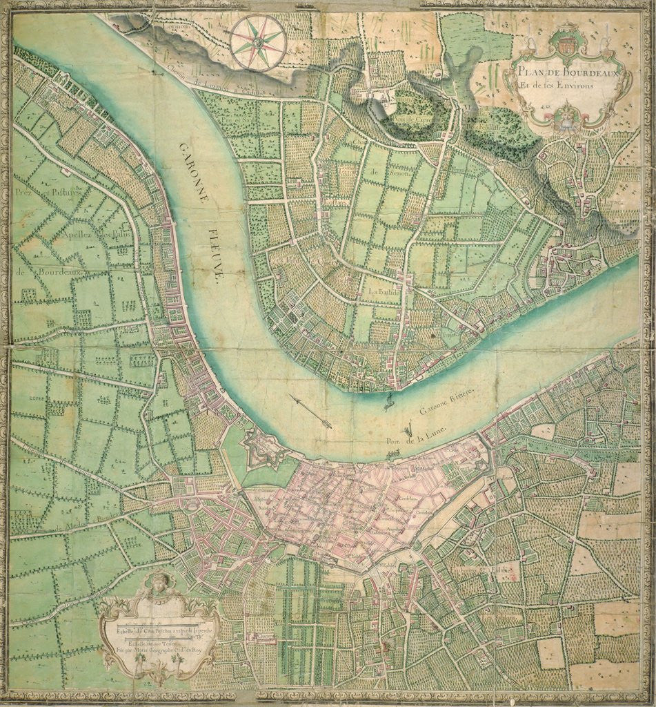 Vintage Map Of The Bordeaux Region Of France And Its Environs