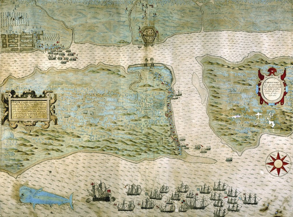Detail of Sir Francis Drake's attack on Saint Augustine, Florida on May 28-29, 1586 by Corbis