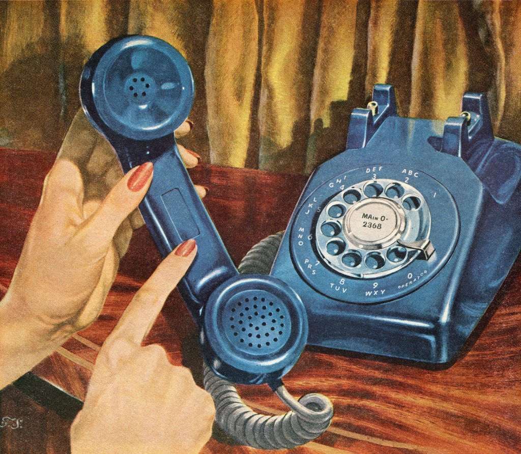 Detail of Hand holding blue rotary telephone receiver by Corbis