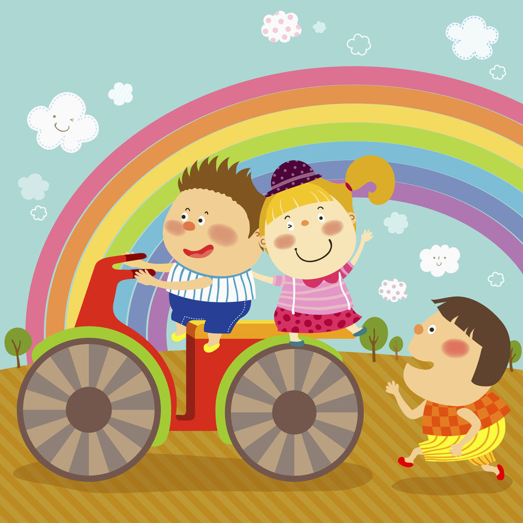 Detail of The image of children riding on the red motorcycle by Corbis