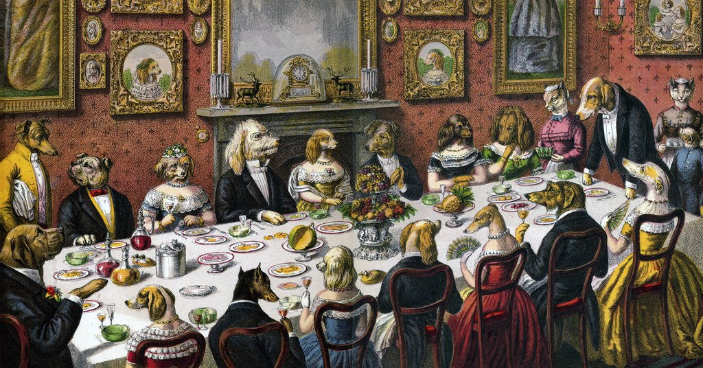 Detail of Dinner party for dogs by Corbis