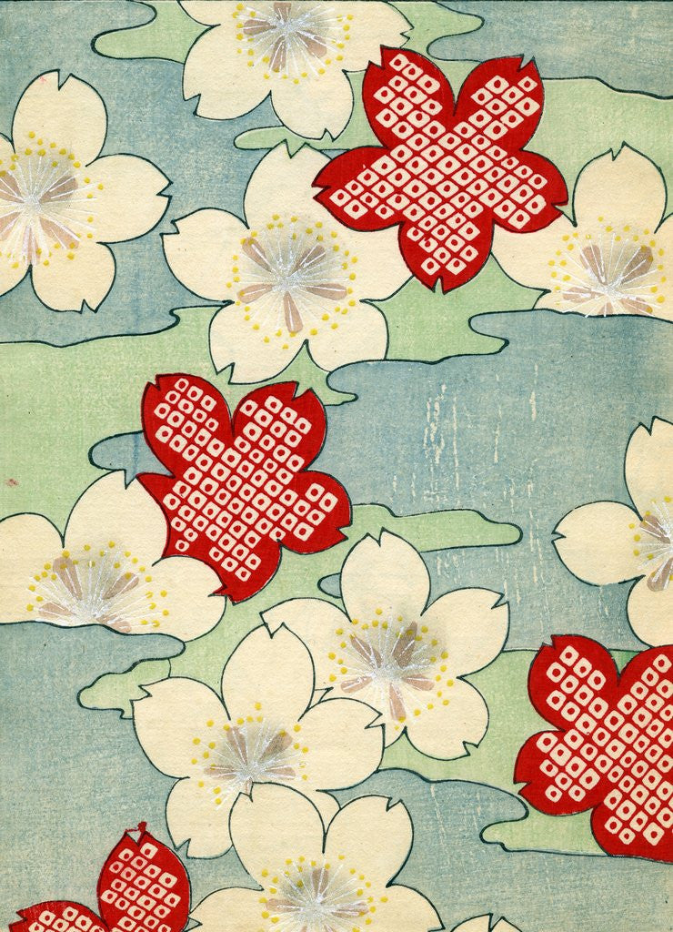 Detail of Woodblock print of dogwood blossoms by Corbis
