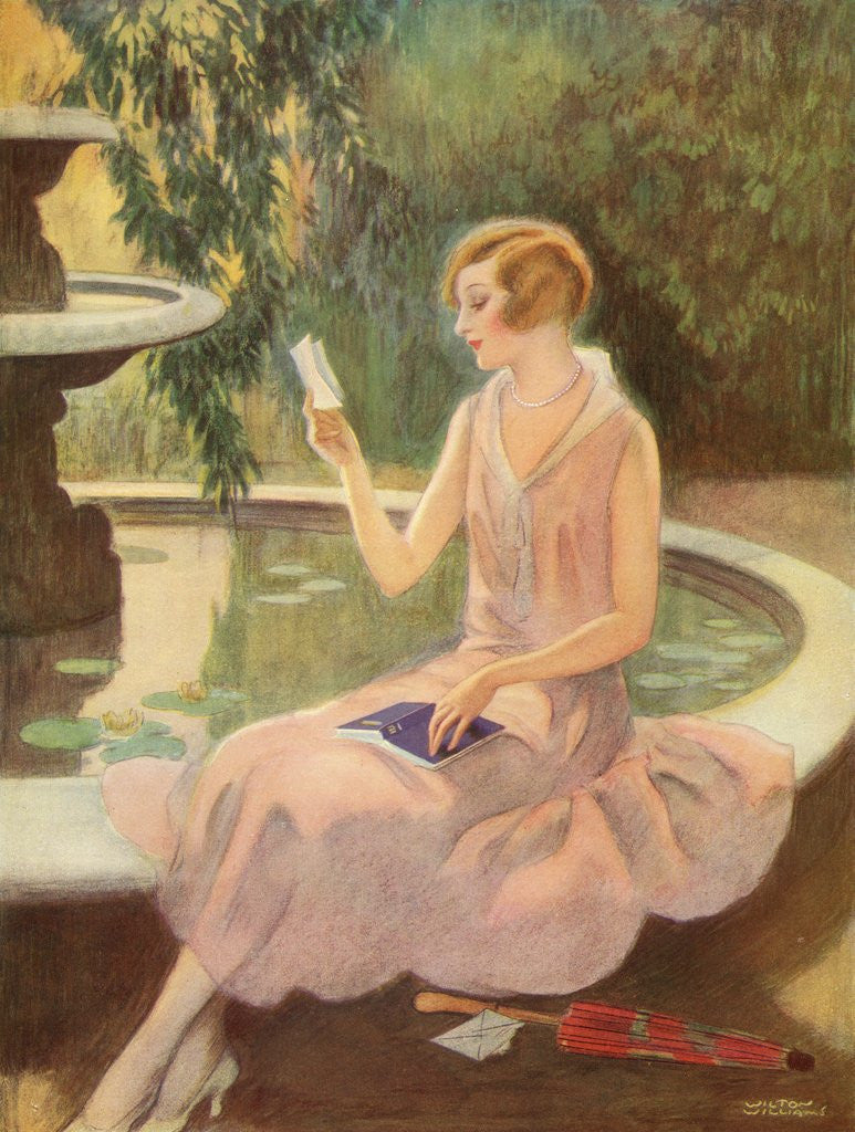 Detail of Young woman reading a love letter by a fountain