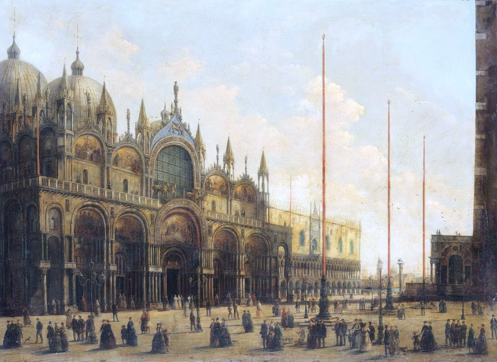 Detail of View of St. Mark's Basilica, Venice by Giuseppe Bernardino Bison