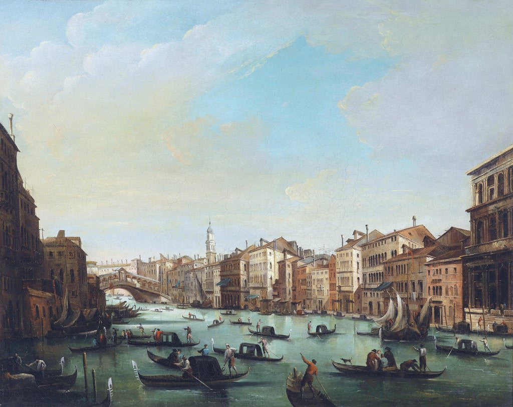 Detail of Grand Canal of Venice and Rialto Bridge by Giuseppe Bernardino Bison