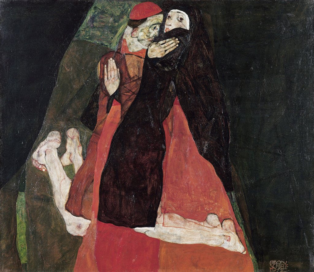 Detail of Cardinal and Nun (Tenderness) by Egon Schiele