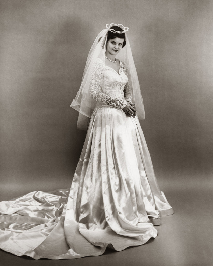 1950s Wedding: 1950s Full Length Portrait Bride Standing Wearing Satin