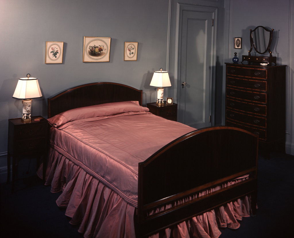 1930s 1940s Bedroom Double Bed With Pink Satin Bedspread Posters