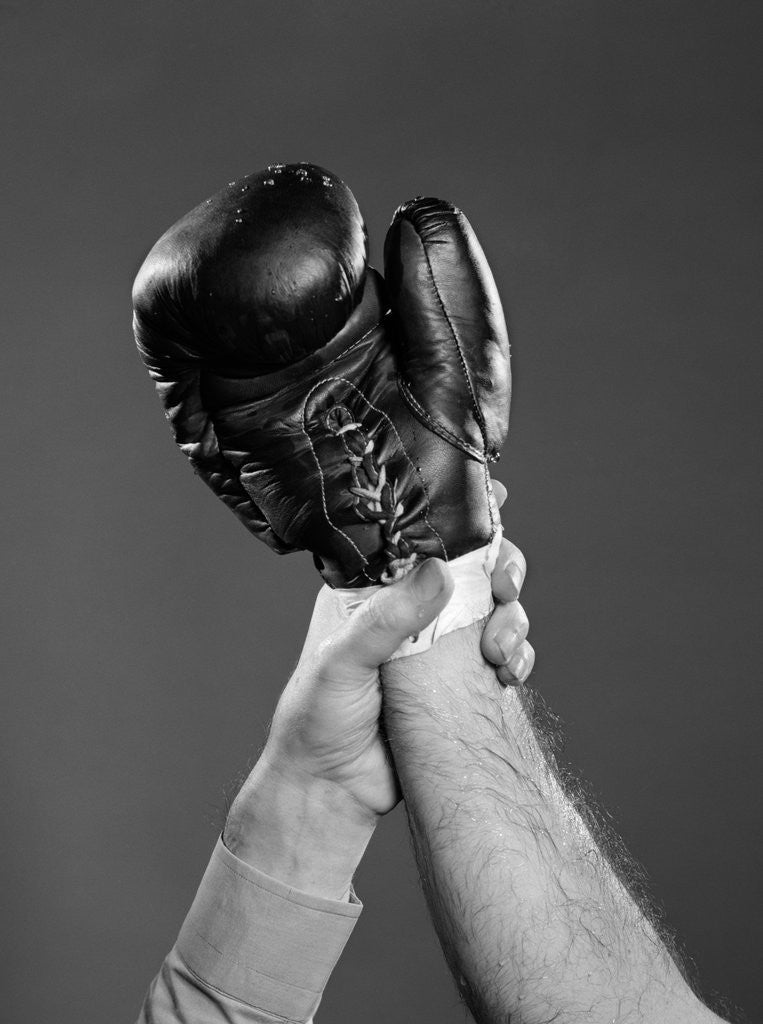 Detail of 1950s gloved hand of winner of boxing match being held up by referee by Corbis