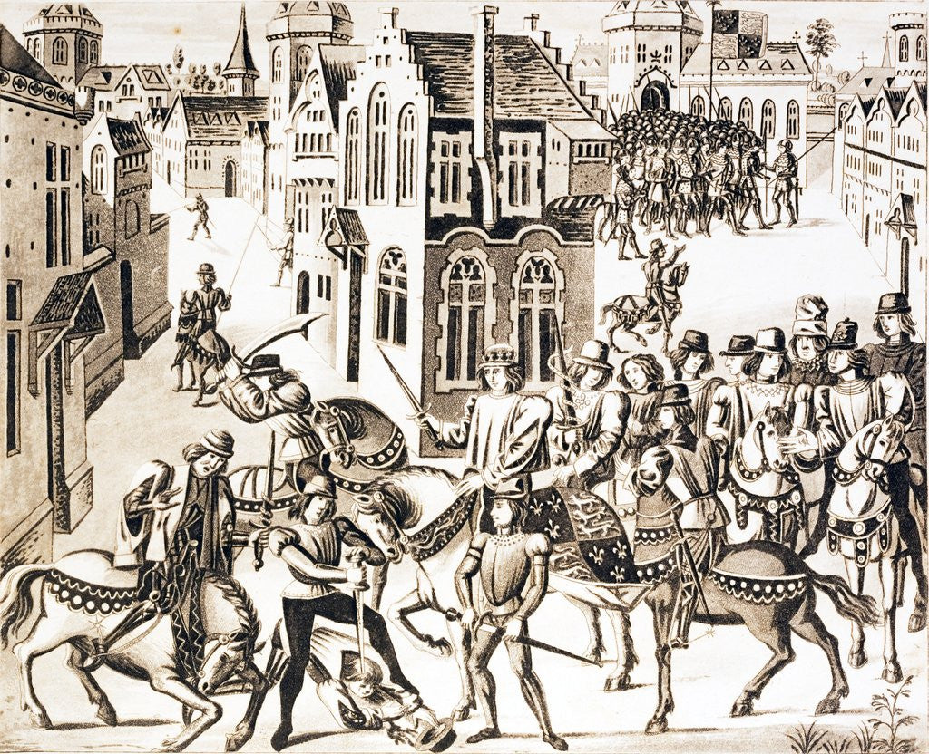 Detail of King Richard in great danger in the City of London and the rebels discomfited by Corbis