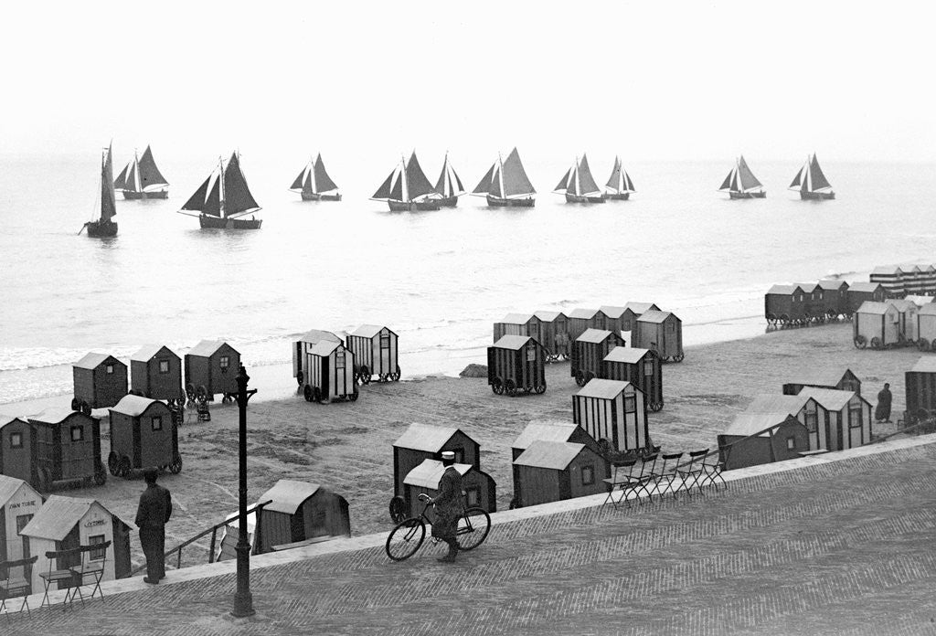 Detail of Beach scene in Victorian England, ca. 1900. by Corbis
