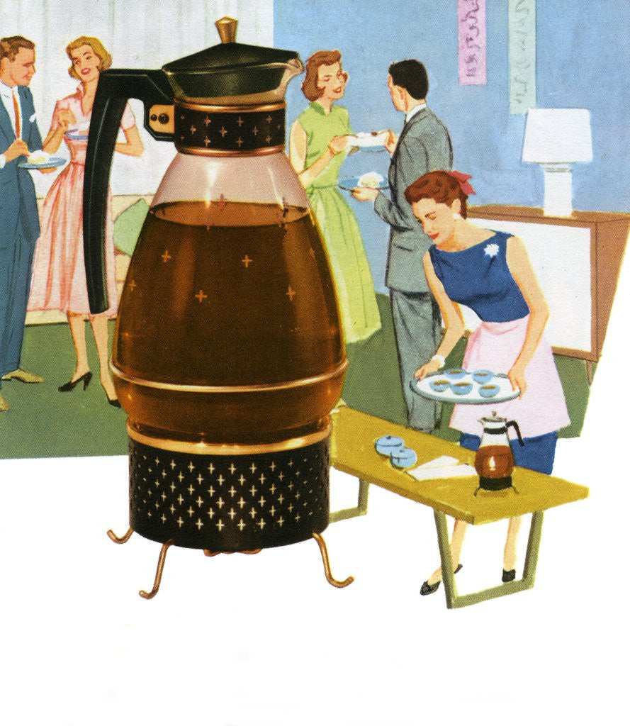 Detail of Coffee carafe and housewife serving coffee to guests by Corbis