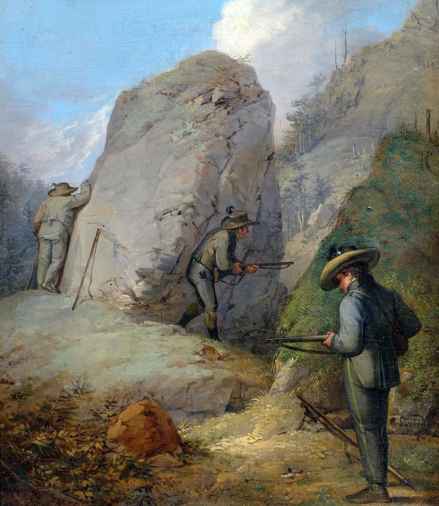 Detail of Austrian Hunters Lying in Wait in the Purgstall Mountains by Rudolf Swoboda the Younger