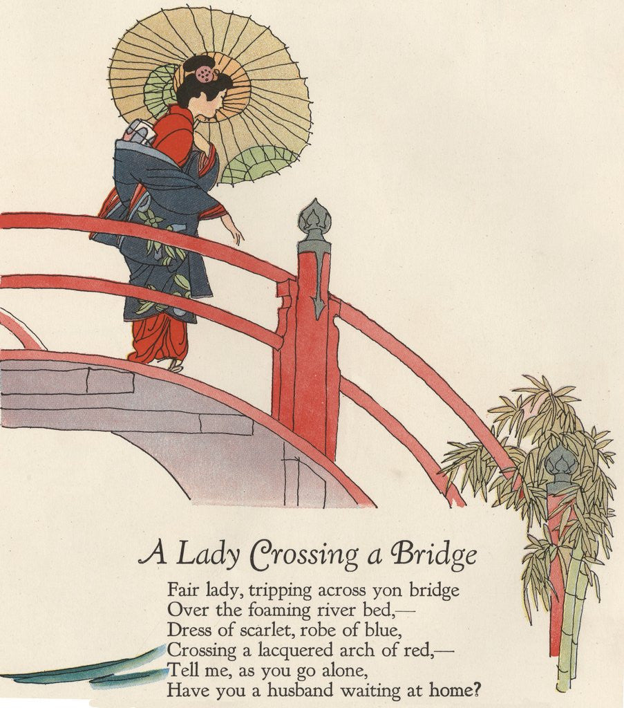Detail of Woman in kimono crossing bridge by Corbis