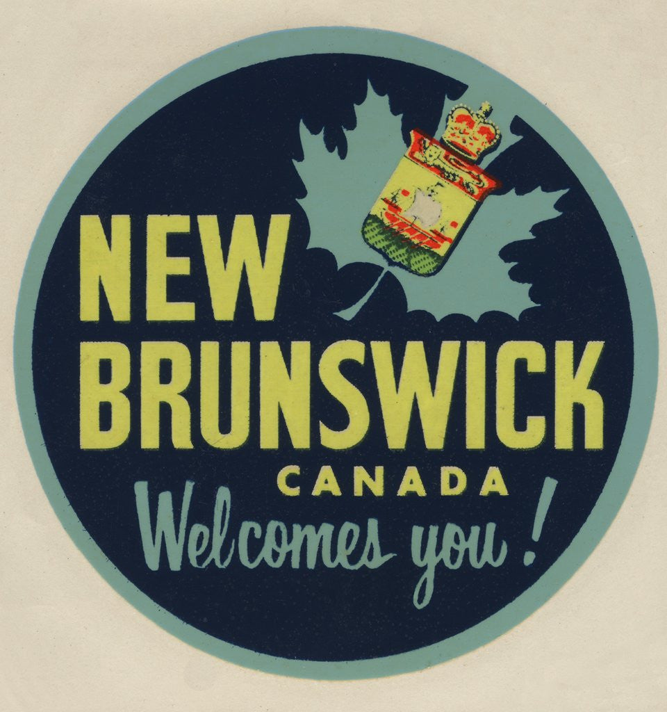 Detail of New Brunswick Canada Welcomes You! travel decal by Corbis