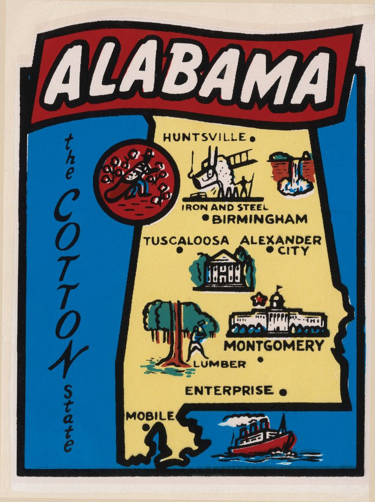 Detail of Alabama travel decal by Corbis