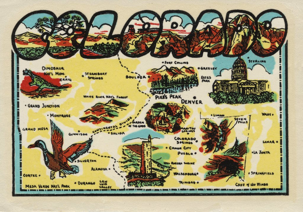 Detail of Colorado travel decal by Corbis