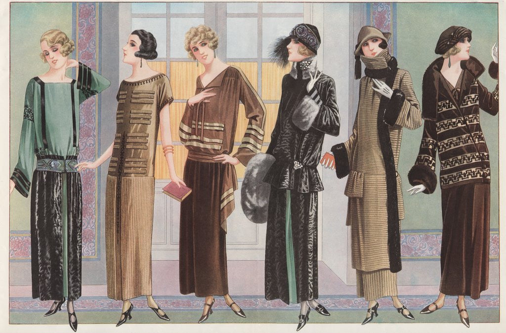 Women modeling 1920's French fashion by Corbis
